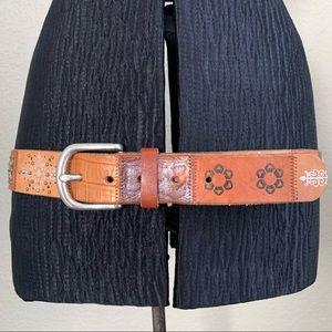 Fossil Patchwork Embellished Studded Leather Belt